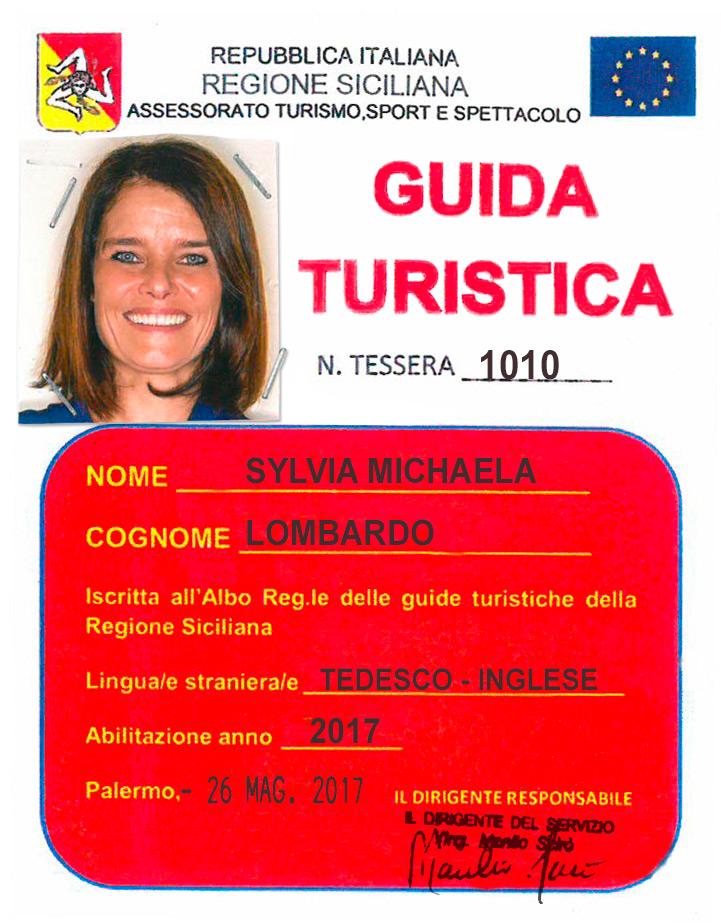 Tesserino Guida Turistica Sylvia Michaela Lombardo