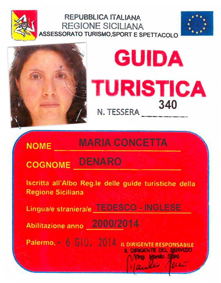 Tesserino Guida Turistica Maria Concetta Denaro